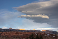 Capitol Clouds 11-12-11 (NateGeesaman) Tags: morning camping red snow cold rock clouds sunrise 50mm desert capitolreef lenticular torrey blm goldenthrone notom blissfulmoment