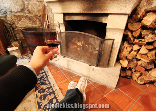 evening glass in front of fireplace