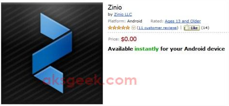 Zinio for Kindle Fire