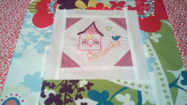Bird house embroidery