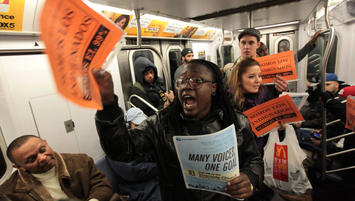Activists from Occupy Wall Street enter subway to educate the public about the terms of struggle taking place in the city. Over 200 people were arrested on November 17, 2011. by Pan-African News Wire File Photos