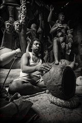 Work in Progress [ BW Version ] (Sukanta Maikap Photography) Tags: india streetphotography diwali kolkata calcutta westbengal kalipuja dipabali tokina1116f28 goddesskaliidols clayidolshalffinishedidols unfinishedkaliidols canon450dtokinaatxprosd1116mmf28ifdx somewherenearkumartuli