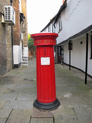 Victorian letter box with a vertical slot. (maggie jones.) Tags: red office post pillar berkshire eton