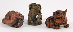6. (3) Signed Hardwood Chinese Netsuke