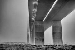 Bolte Bridge (Andrew Northover) Tags: city bridge 2 white mist black fog canon concrete eos mark melbourne ii l 5d series bolte 24105mm