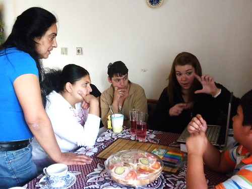 I explain the quilting process to a group of women, including from left to right: Emilie Horačkova, Lenka Dirdova, and Renata Dufkova.
