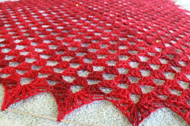 Pretty Triangle Scarf - blocking