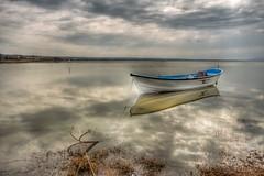 Alone, Manyas Lake (Nejdet Duzen) Tags: trip travel cloud lake reflection turkey boat türkiye sandal bulut göl yansıma turkei seyahat bandırma manyaslake saariysqualitypictures mygearandme manyasgölü