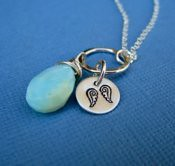 October Necklace- Peruvian Opal and Angel Wing   **Additioanl Birthstones and Images Available**
