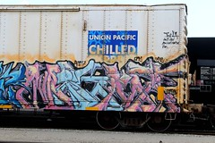MIGHT (KNOWLEDGE IS KING_) Tags: railroad color art car yard train bench one graffiti paint panel pacific union tracks rail railway socal express piece bomb railfan freight orc reefer fill chilled might in rollingstock am7 bamc paintedsteel