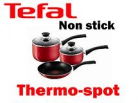 Tefal Bistro Red 3 Piece Non-Stick Saucepan Cookware Set