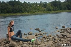 rock dweller. (365daysofsarav) Tags: river model rocks waterfront augusta midriff uploadedviaflickrqcomgirl