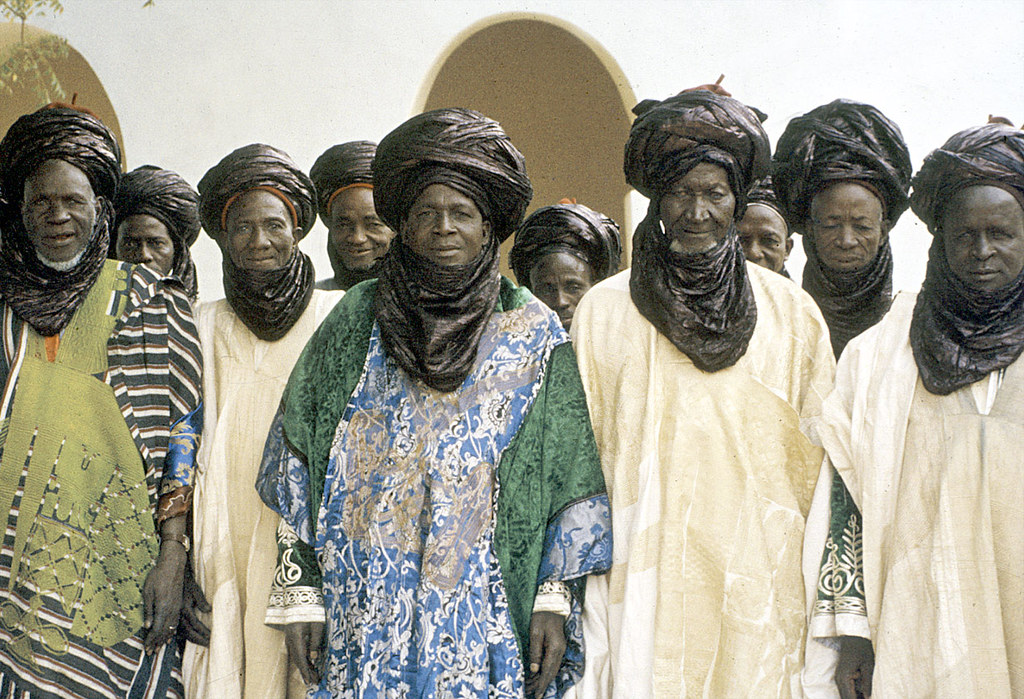 Elite bodyguards of the Emir of Katsina at a morning greeting ceremony, Katsina, Nigeria. [slide] 1959. eepa_01397