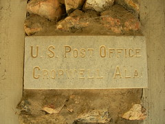 Old Cropwell Alabama Post Office Stone (jimmywayne) Tags: alabama postoffice cornerstone stclaircounty cropwell