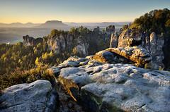 Sunny Morning (Dietrich Bojko Photographie) Tags: morning autumn 6 germany deutschland nationalpark rocks europe soft saxony 9 lee filters stacked bastei elbsandsteingebirge gnd saxon