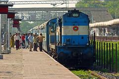 Ice-Cream @ Habibganj!! :-O:-O (Ujjawal) Tags: morning people station train diesel south crowd central platform fast east huge locomotive passenger indore railways bhopal alco irfca raipur wdm3a chhindwara habibganj penchvalley