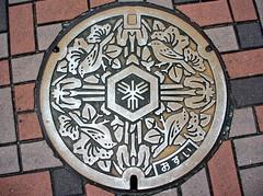 Sakai Osaka manhole cover(大阪府堺市のマンホール) (MRSY) Tags: flower bird japan geotagged 日本 osaka manhole 花 sakai 鳥 ツツジ マンホール モズ ハナショウブ 大阪府 堺市 geo:lat=3457433631976796 geo:lon=13548260986804962