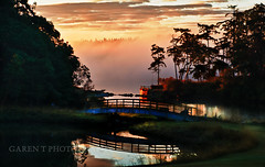 Sunrise on Whidbey (GarenT Photography) Tags: bridge mist reflection sunrise fence nikon whidbeyisland d7000 garentphotography