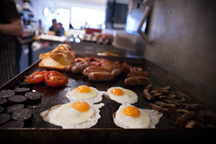 grill at the seven bess cafe (lomokev) Tags: cooking tomato bacon brighton egg sausage grill eggs fryup blackpudding fullenglish sevenbeescafe posted:to=tumblr 7beescafe