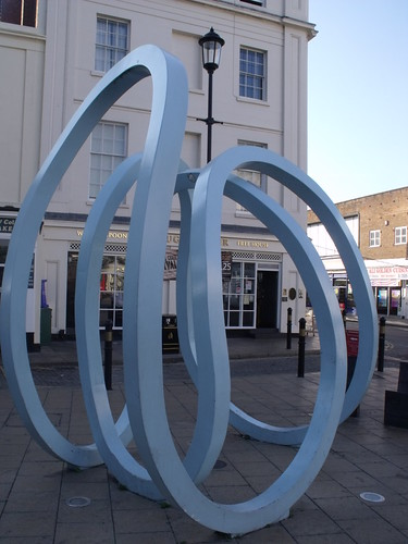 Jug & Jester, 11 and 13 Bath Street, Leamington Spa - sculpture of blue waves