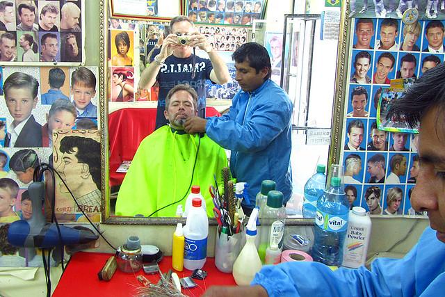 Haircut and shave in La Paz, Boliva