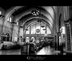 San Diego Train Station - B&W (Chad McDonald) Tags: california ca santafe building station train canon downtown arch sandiego chad hdr mcdonald xsi photomatix 450d mcdonaldc