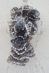 Wild Virginia (Glittering Prize - Trudi) Tags: blue brown wool yarn knitted flamenco snowballs