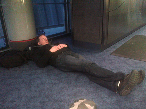 Josh sleeping at O'Hare