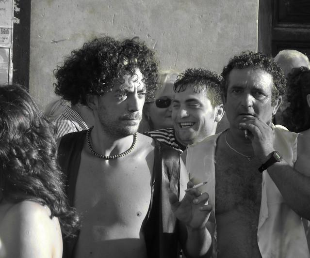 men in street Wine festival, Bisenti Abruzzi Italy