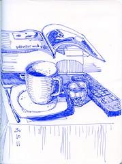 cup of blue (Vanadisa) Tags: blue stilllife art moleskine cup pen ink tea journal sketchbook lamy 2011