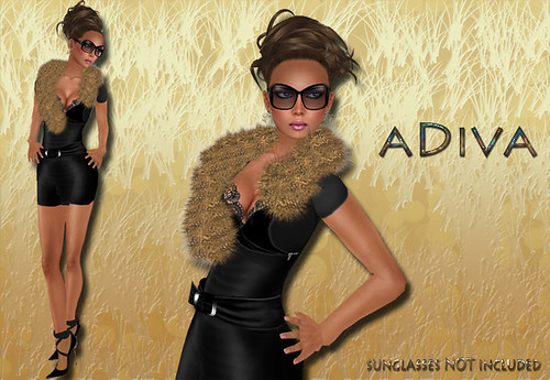 aDiva couture Mag Fur Dress Black