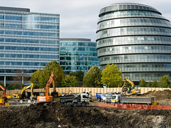 Potters Fields underway (cybertect) Tags: london construction cityhall lorry constructionsite digger se1 morelondon glabuilding londonse1 pottersfields canonfd35105mmf35 panasonicg2