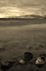 Tao of Welding (Wroot Down) Tags: longexposure lake mountains nature sepia rocks yukon filter hack kluane diyfilter neutraldensity weldersglass