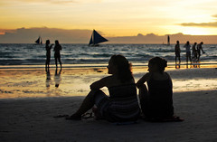 QUALITY TIME (gggelow) Tags: ocean girls friends sunset sea white beach silhouette boats island photography sand nikon candid philippines boracay chill hangout d40 angelobilang