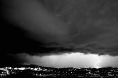 Rayo en la noche (carlosolmedillas) Tags: light sky cloud white storm black blanco monochrome monocromo noche ray negro cielo tormenta nocturna rayo nube meteo etb tiempo impacto eitb meteorologia lightstorm resplandor fenomeno eguraldia