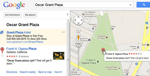 Oscar Grant Plaza in Google Maps