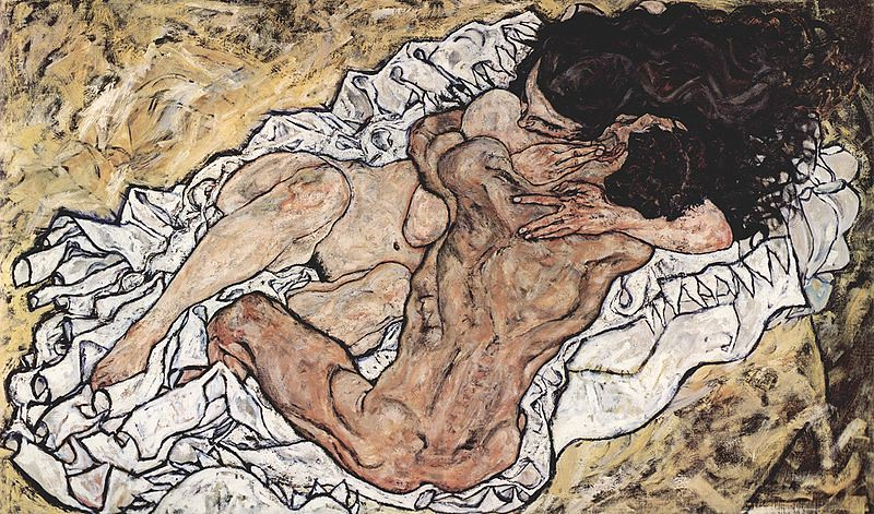 Egon Schiele, The Embrace, Oil on Canvas 1917