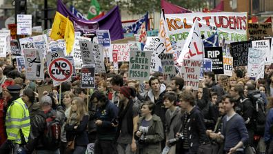 Students protested in the thousands in London on November 9, 2011 in opposition to tuition increases. After demonstrators erected tents they were immediately torn down by the British cops. by Pan-African News Wire File Photos