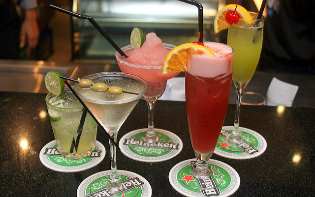 Drinks from Harry's Bar (L-R): Dirty Harry, Dry Martini, Margarita, Singapore Sling, Jungle Juice