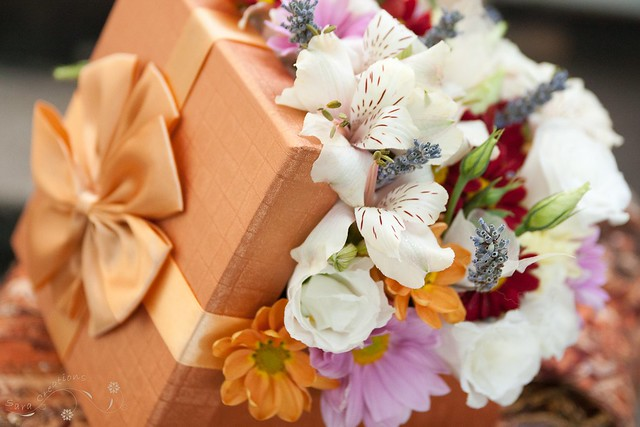 Present box with fresh flowers