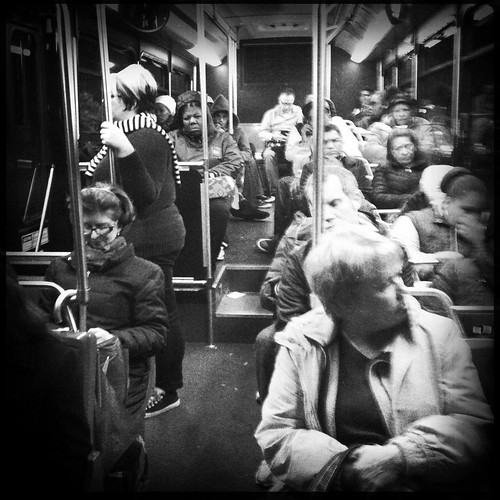 the people on the bus go up and down