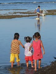 Three young observers at Amed, Bali (Sekitar) Tags: girls boy sea bali indonesia coast boat laut perahu anak amed karangasem