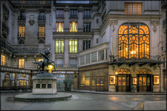 Square de l'Opera Louis-Jouvet, Paris (Scape) Tags: city travel blue light sky urban paris france building tourism monument architecture canon square dawn twilight opera long exposure nightshot dusk wide large panoramic hour arrondissement hdr haussman
