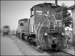 Former Espee Switcher At The Anaheim Wye (greenthumb_38) Tags: california railroad 2002 blackandwhite bw train blackwhite goat unionpacific duotone locomotive orangecounty anaheim switcher southernpacific espee sw1500 patched canonpro90is yardgoat jeffreybass canonpro90 upy1226 sp2681