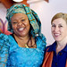 Nobel Peace Prize winner Leymah Gbowee at Eastern Mennonite University Homecoming, fall 2011, with Lisa Schirch of the Center for Justice and Peacebuilding at EMU.