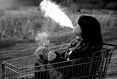 (insidethegoldmine) Tags: autumn trees blackandwhite girl fashion sweaters cigarette smoke teenagers shoppingcart tights