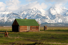 Mormon Row (bhophotos) Tags: trip travel vacation usa snow mountains nature clouds landscape geotagged cabin nikon logcabin wyoming tetons jacksonhole grandtetonnationalpark gtnp mormonrow antelopeflats d700 70200mmf28gvrii bruceoakley
