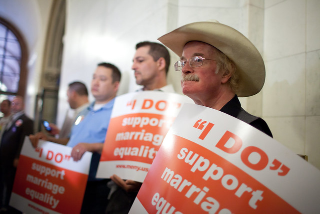Supporters of same sex marriage demonstrate in Albany, New York