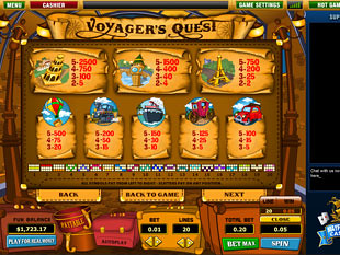 free Voyager's Quest slot game paytable