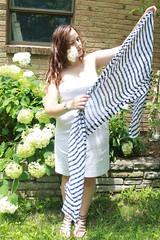 Outfit - white dress, striped scarf